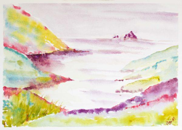 Water Colour, Devon, Mewstone.